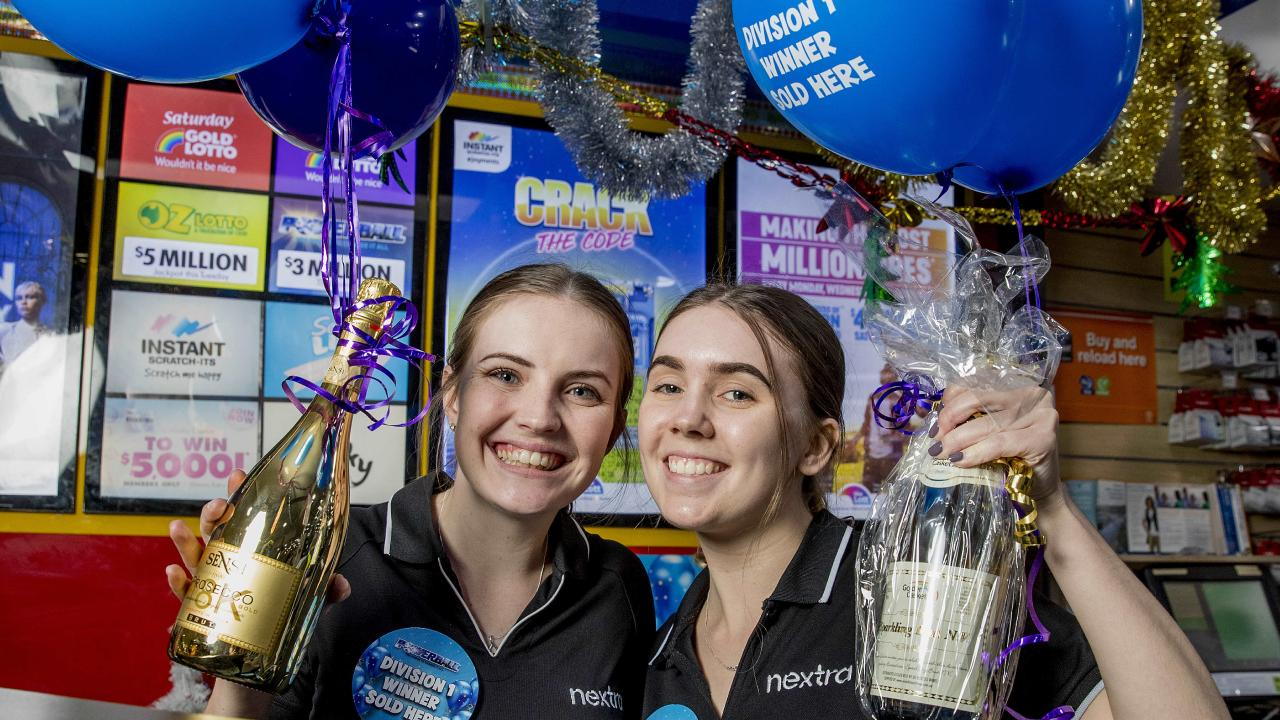 Employees Soraya Le Marshall and Olivia McKenzie coldn't believe the prize. Picture: Jerad Williams