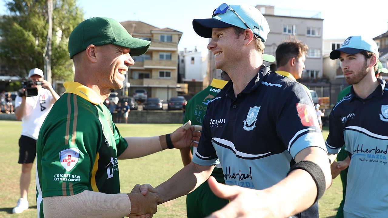 David Warner and Steve Smith shake hands after their grade cricket match.