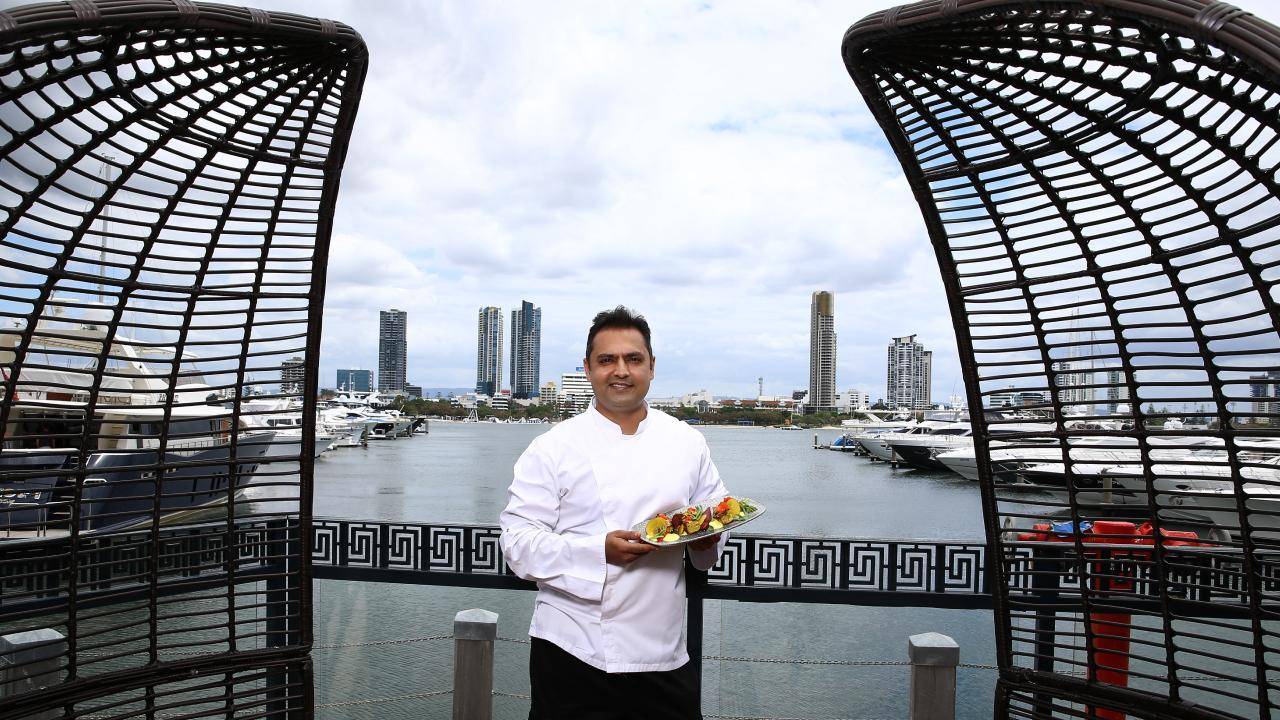 Kokum, a sophisticated Indian restaurant is about to open at Palazzo Versace Hotel and pictured is head chef Sabir Merchant (dish is Sambal Burramundi with masala caviar) Picture David Clark