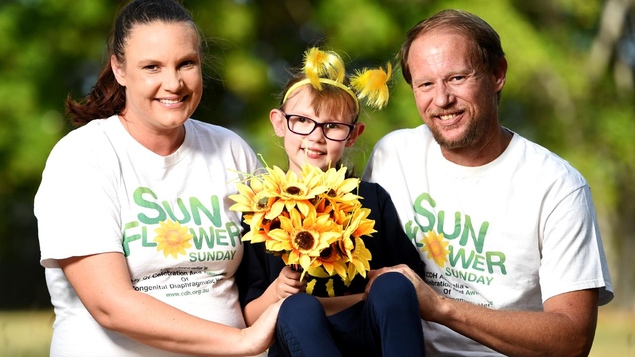 Marley Maurice, now 8, with mum Mikayla Lythgo and dad Jeff Maurice.