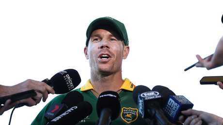 Warner fronted media after the Coogee Oval clash. Picture: Mark Metcalfe/Getty Images