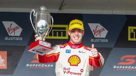 McLaughlin after winning the ITM Auckland SuperSprint. (AAP Image/David Rowland)