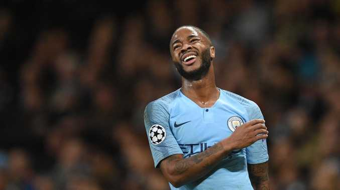 Manchester City's English midfielder Raheem Sterling is sitting pretty.