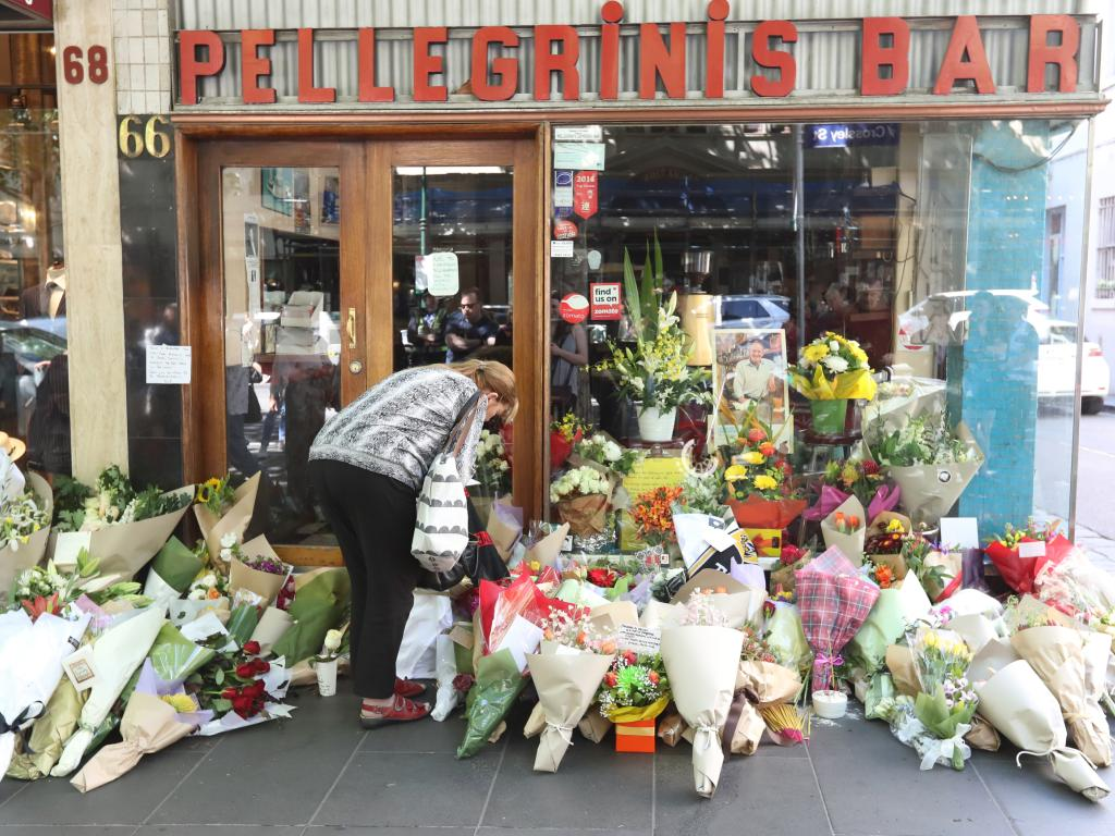 Mourners pay tribute to Mr Malaspina at the restaurant. Picture: Alex Coppel.