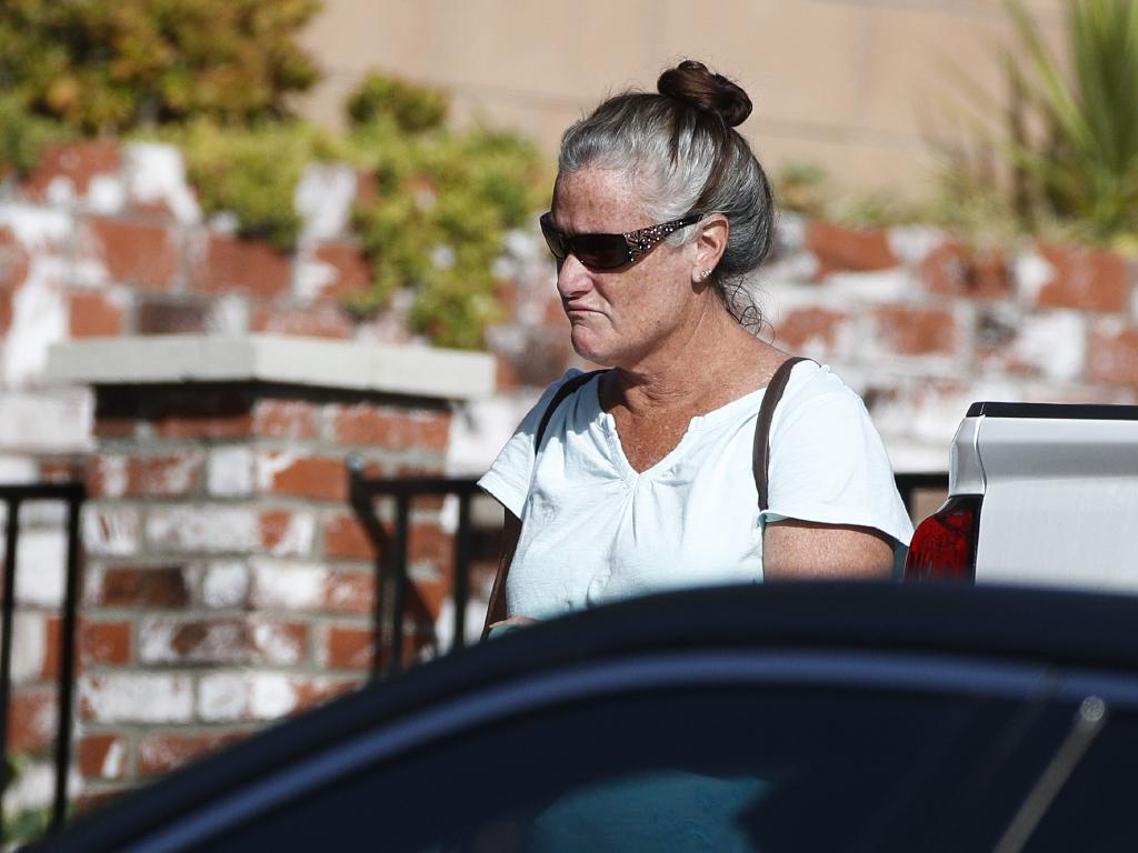 Colleen Long, mother of shooting suspect Ian Long, outside her house in California. Picture: AP