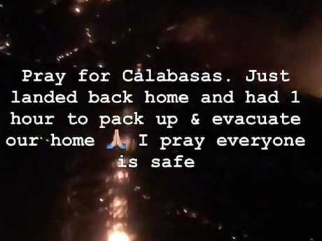 Kim urged her followers to pray for the area. Picture:  Instagram