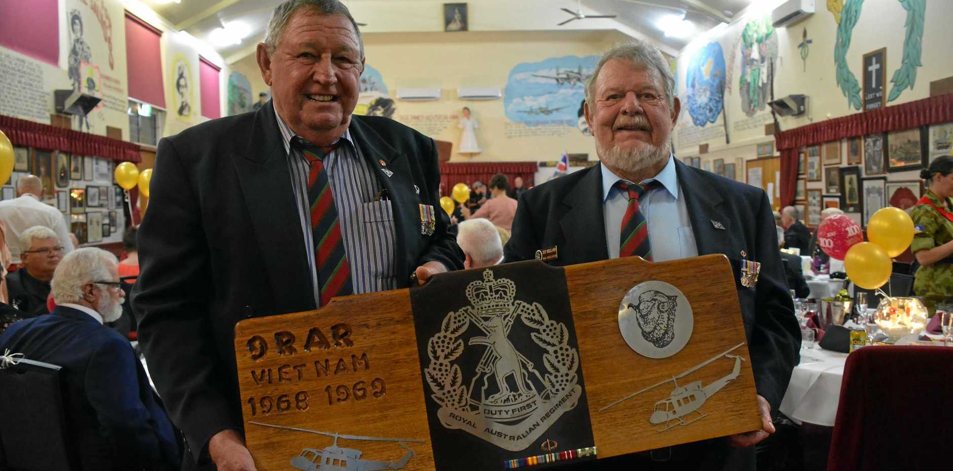VIETNAM VETERANS: Pte Lawrie Smillie and Pte Jeff (Tub) Meilland donated a plaque to the Nanango RSL during the Armistice Day ball on November 10.