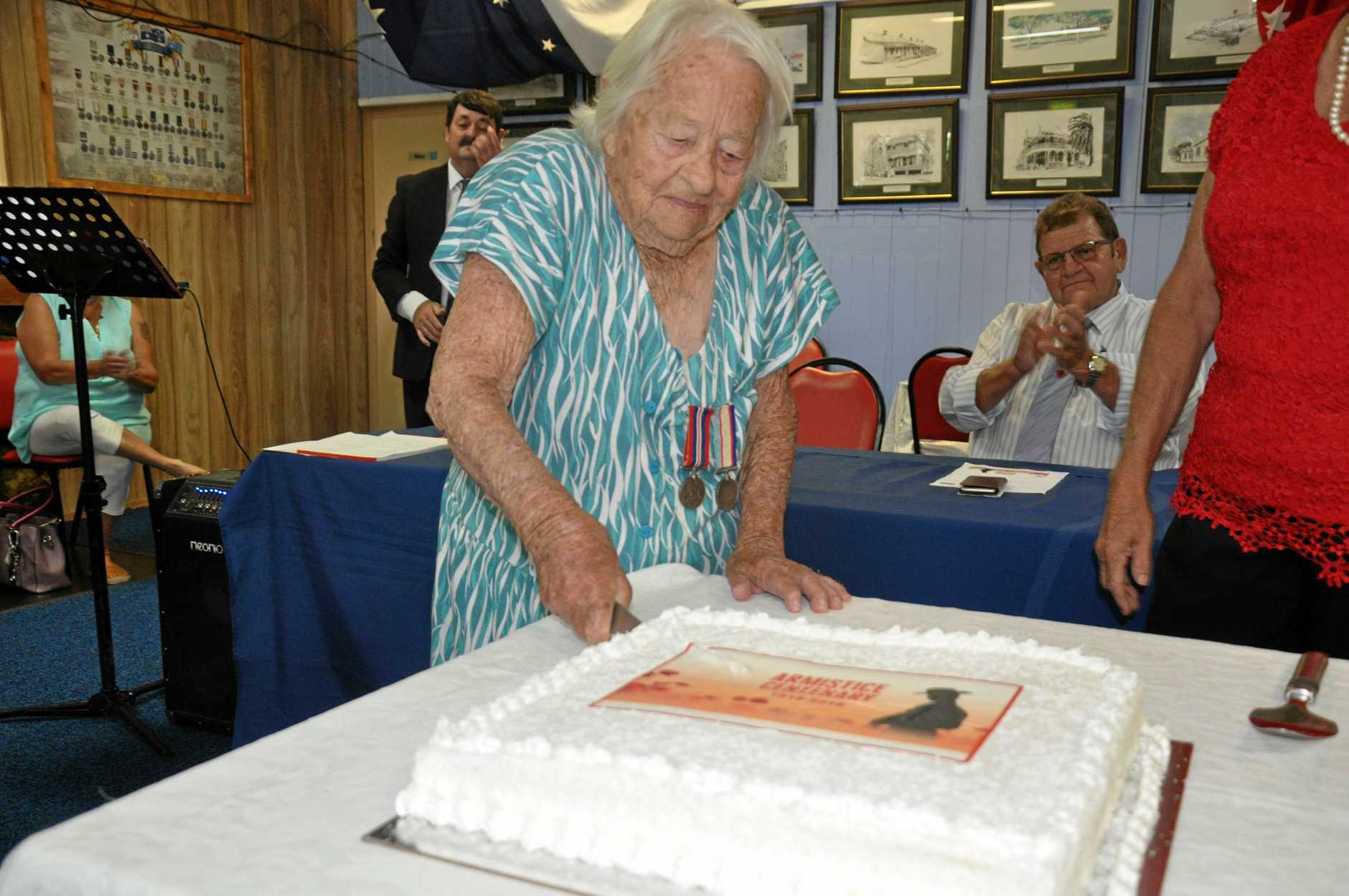 98-year-old Vashti Grubb was asked to cut the centenary cake at the service.