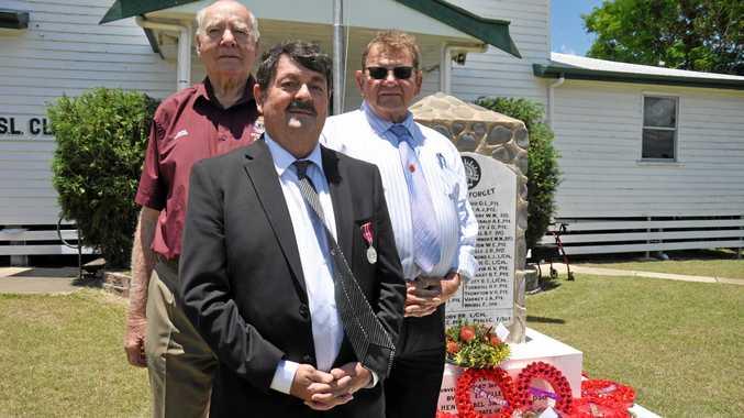 TRIBUTE: Monto RSL treasurer John Lynn, president David Watson and councillor Paul Lobegeier at the Remembrance Day service.