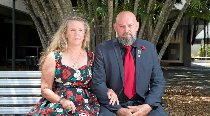 REMEMBERING: Murray Smith and his wife Robyn at Jubilee Park on Remembrance Day where they laid a wreath to honour Mr Smith's son, Corporal Scott Smith, who was killed while serving in Afghanistan in 2012.