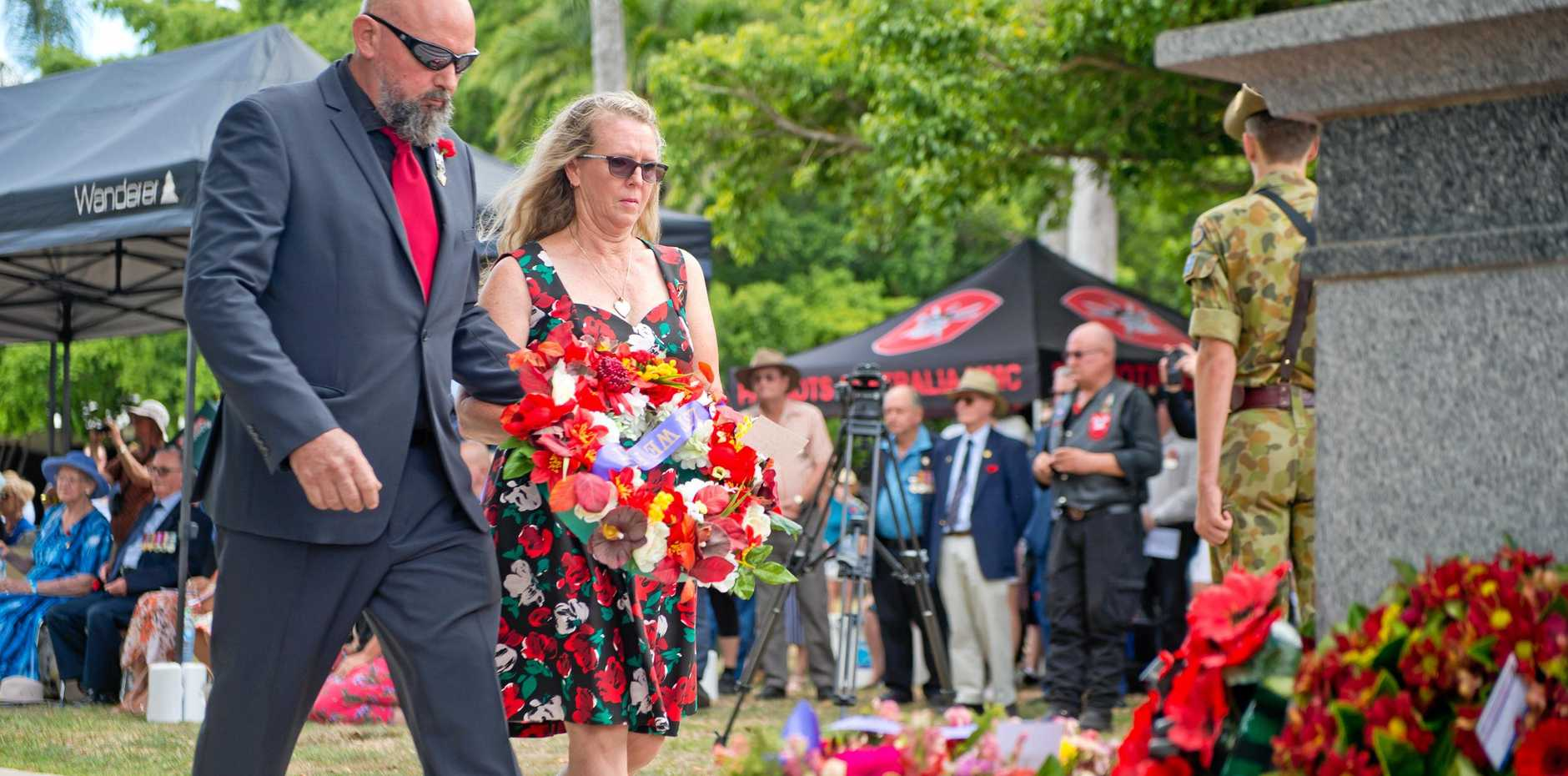 Murray and Robyn Smith lay a wreath at Jubilee Park for their son, Scott Smith, who was killed in Afghanistan in 2012.
