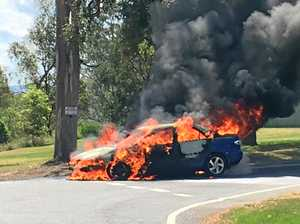 UPDATE: 'The airbags were exploding' as car burns