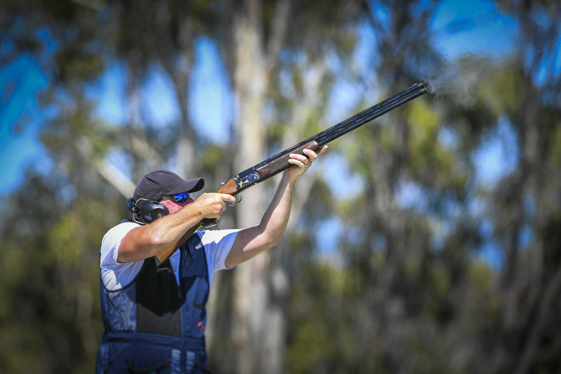 CLAY SHOOTING: Damo Ashlin took aim in the Gladstone Clay Target Club Champion of Champions Shoot in the Open and Intermediate category.