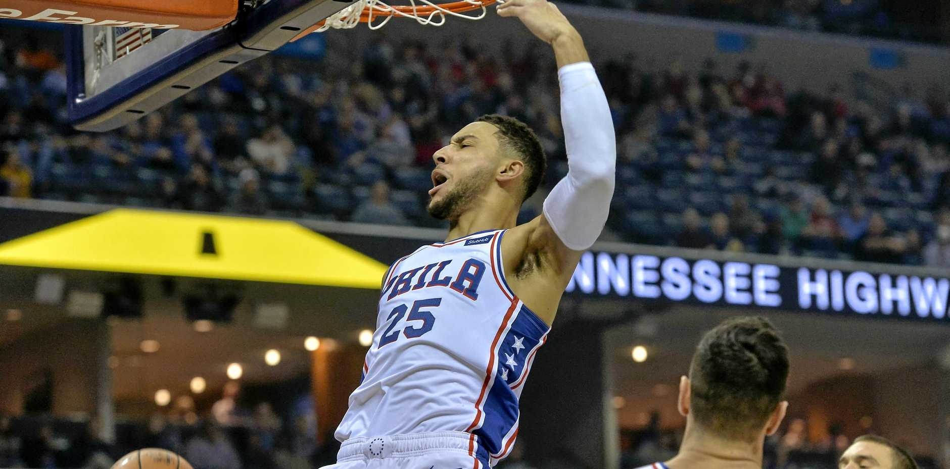 Philadelphia 76ers guard Ben Simmons scores in the first half against the Memphis Grizzlies. Picture: Brandon Dill/AP