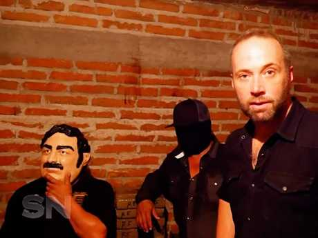 Journalist Steve Pennells with members of the Sinaloa cartel. Picture: Sunday Night
