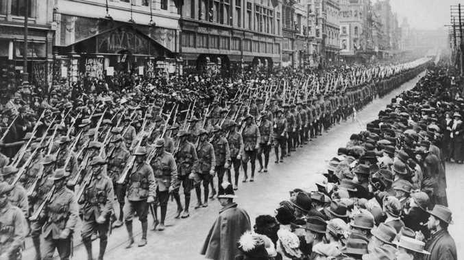 Australian soldiers from the state of Victoria march down Bourke Street in Melbourne, prior to departing for the battlefields of World War I, circa 1914. Picture: Paul Thompson/FPG/Getty Images