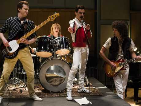 The band at the Bohemian Rhapsody studio. Picture: Alex Bailey / Twentieth Century Fox via AP