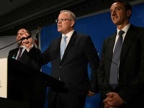 Scott Morrison (centre), along with Treasurer and Deputy Liberal Leader Josh Frydenberg. Things aren't looking good for the Coalition. Picture: AAP