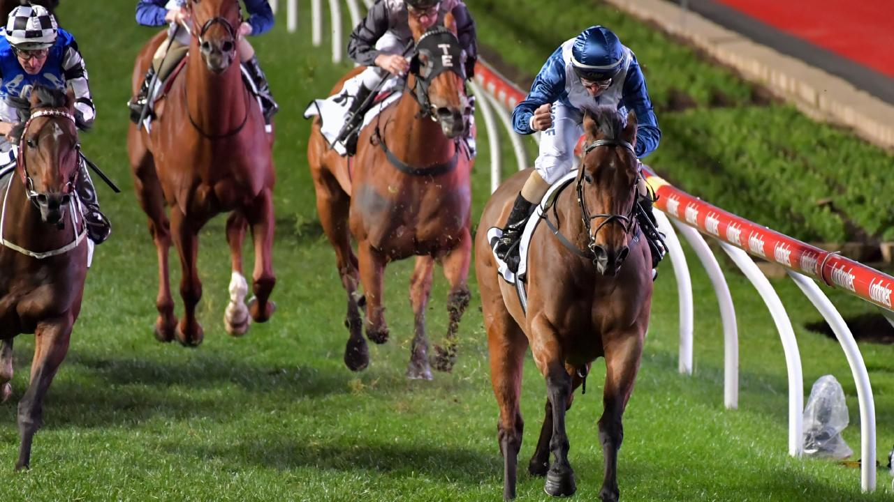 Viddora, ridden by Joe Bowditch, wins the Moir Stakes. Picture: Getty Images