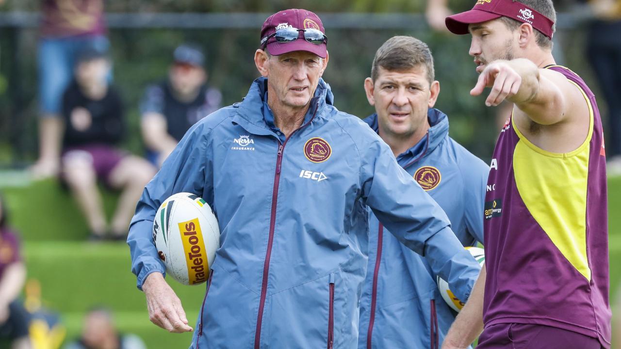 Brisbane Broncos coach Wayne Bennett (left) is seen in during a team training session in Brisbane, Saturday, September 8, 2018. (AAP Image/Glenn Hunt) NO ARCHIVING