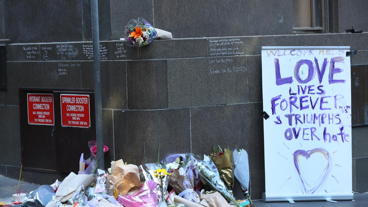 Flowers for the Bourke Street tragedy. Picture: David Crosling