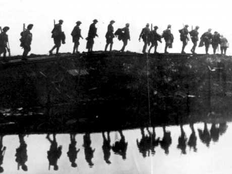 First Australian Division march before the third battle of Ypres. Picture: Australian Armed Forces