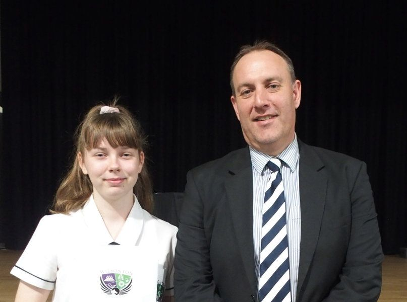 Wilsonton State High School OP1 recipient Brittany Werder with principal Marcus Jones at the school's awards night earlier this year.