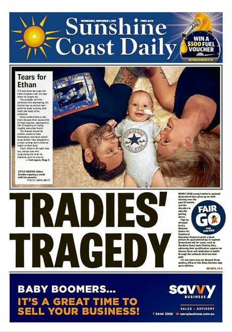 The Daily's coverage of Ethan Gosden's family's push to afford a new feeding chair for him in November 2017.