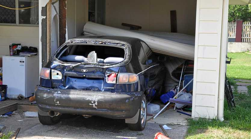Residents had a rude awakening at 1am on Monday morning when a car rammed into their house