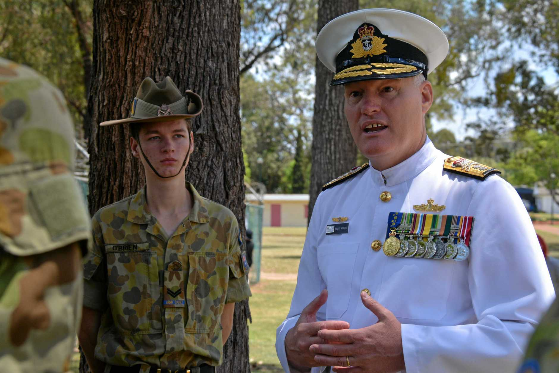 WORDS OF WISDOM: Rear Admiral Brett Wolski AM from the Royal Australian Navy passes on advice to the Wondai 135 Australian Army Cadets after the 2018 Kingaroy Remembrance Day service.