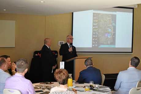 Sunshine Coast Mayor Mark Jamieson speaks at a Mooloolaba Chamber of Commerce breakfast.