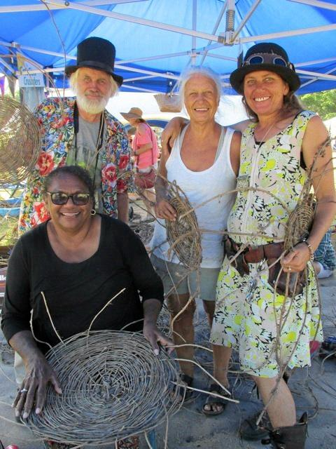 MASTER WEAVERS: Cat's claw weaving artists (back from left) Ian Mackay, Julia Kitto, Renee Bahloo and (front) Jan Williams were kept busy during the afternoon instructing on basket weaving.