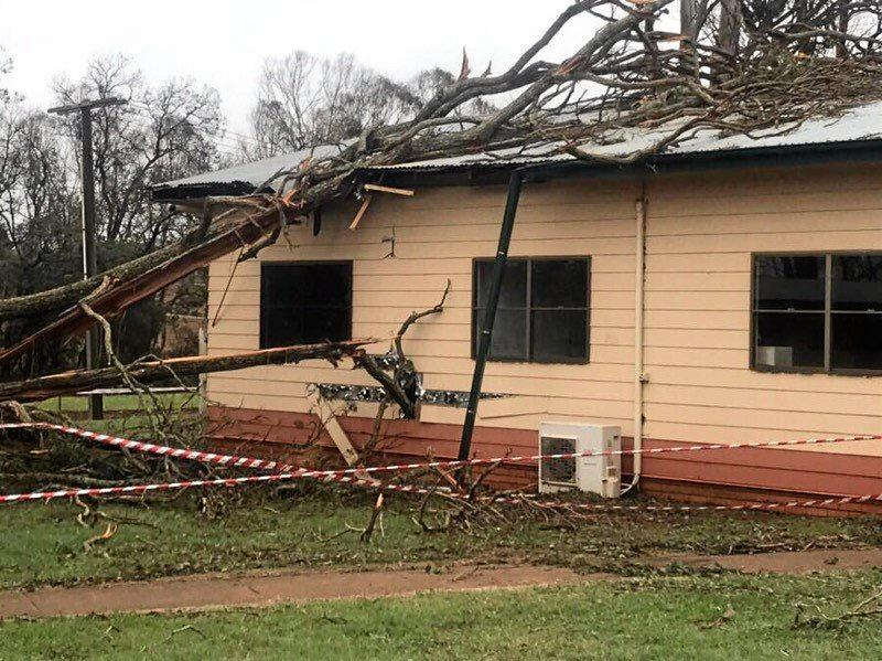 DAMAGE: A fallen tree caused water and electrical damage to the Coolabunia Saleyard canteen during the severe storm on October 11.