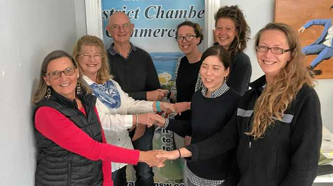 The Leadership hand-over. Left from front: outgoing secretary, Bev Mansfield; outgoing president, Debbie McCredie;  outgoing treasurer, Rick Angelo. Right from front:  new vice-president, Lauren Priest; new treasurer, Meredith Morschel; new president, Gina Lopez; new secretary, Roz Woodward.