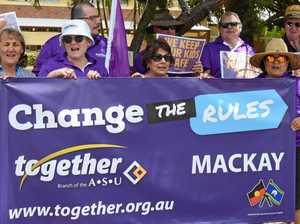 Mackay education workers strike outside school