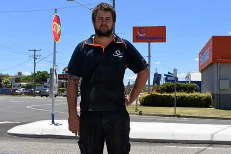 Beaurepaires Warwick manager Jason Duignan is concerned about the downturn in business since a new traffic island was installed on the corner of Condamine St and Albion St in Warwick.