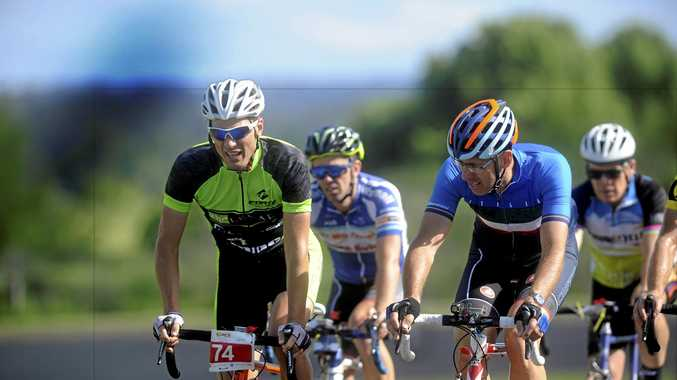 Professional cyclist Morgan Pilley (left) leads the peloton alongside Dion Wilkes during the fourth annual 24 hour ride for youth at Junction Hill.