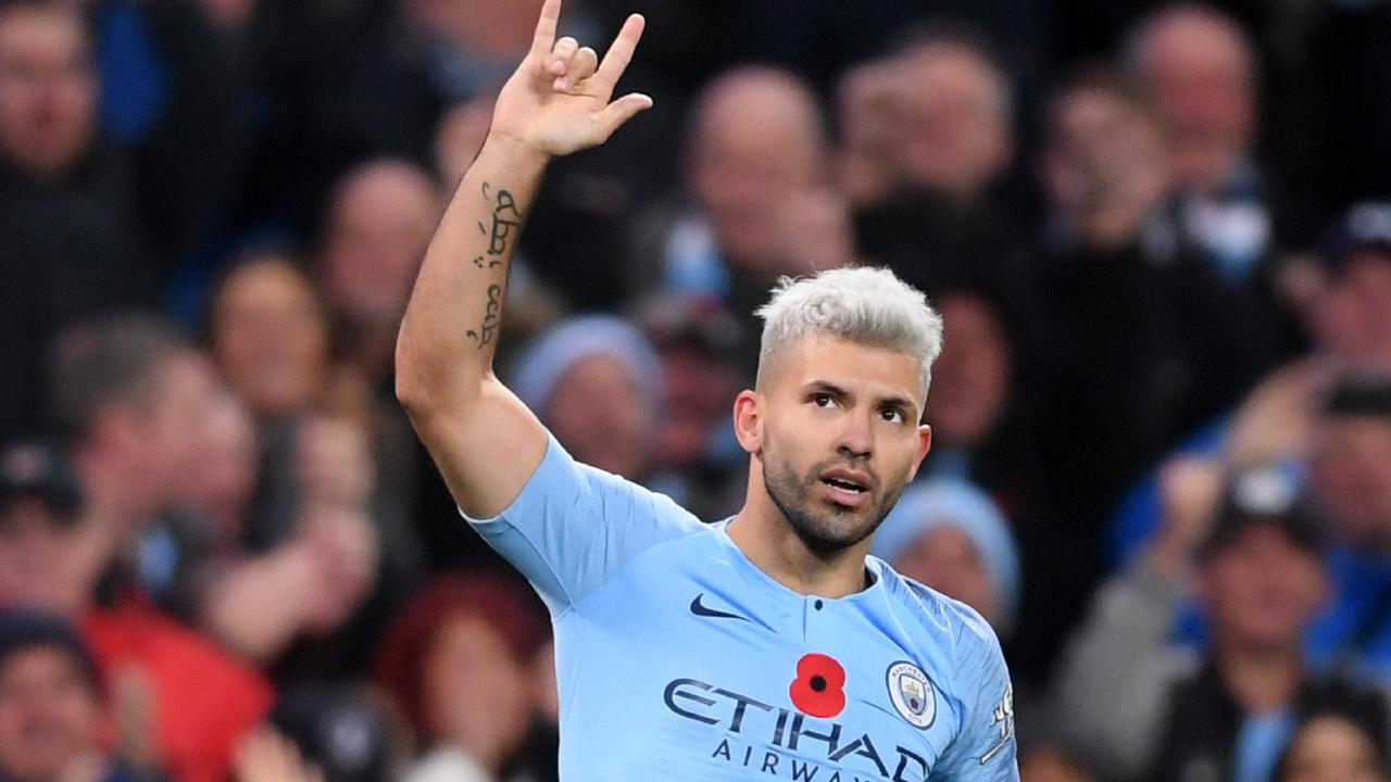 Sergio Aguero scored a hat-trick against Arsenal. Picture: Laurence Griffiths/Getty Images