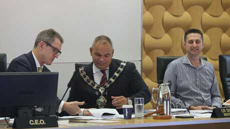 Dale Dickson (left) with Mayor Tom Tate - the CEO believes random drug testing of staff is critical part of council's safety program. Picture Glenn Hampson
