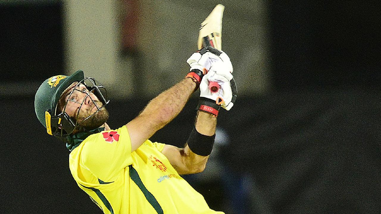 Glenn Maxwell skies one in Hobart. Picture: AAP