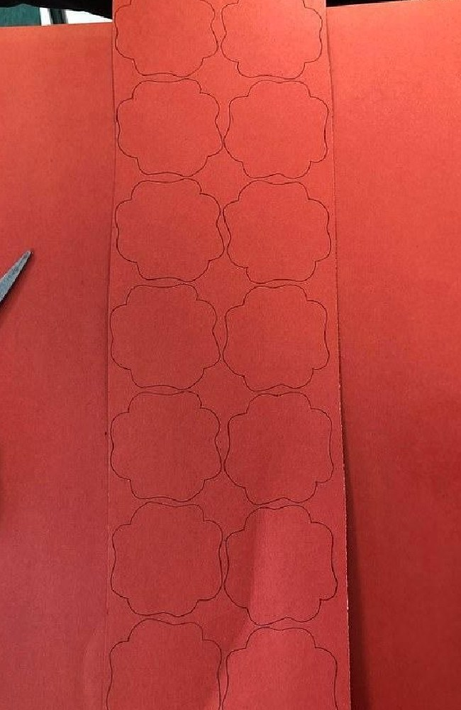 The outline of each poppy appears to overlap, even though the lines never touch. Picture: Reddit