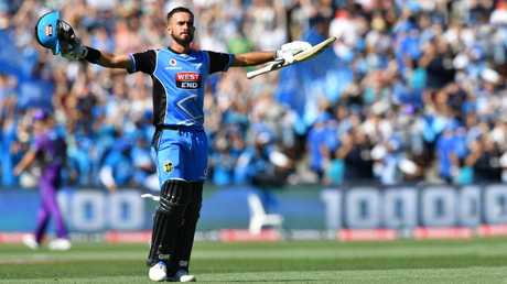 Jake Weatherald of the Adelaide Strikers celebrates a century during a match against Hobart. Picture: AAP / David Mariuz