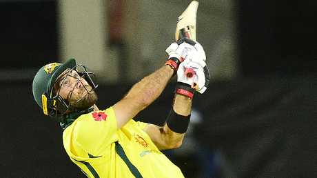 Glenn Maxwell in action for Australia against South Africa in Hobart.