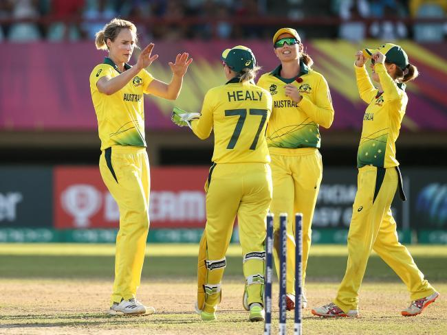 Ellyse Perry ripped it up, taking two wickets to crush Ireland's spirits. Picture: Getty