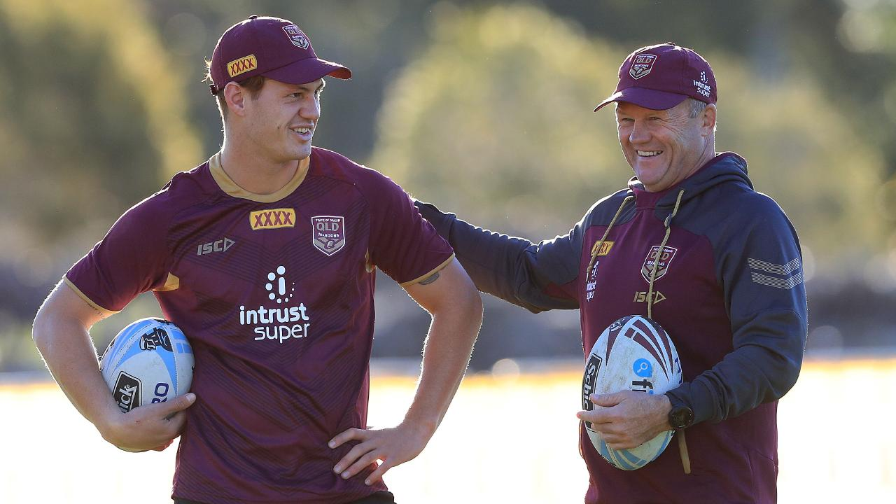 Kalyn Ponga and Trevor Gillmeister during a Queensland Origin training session. Picture: Adam Head