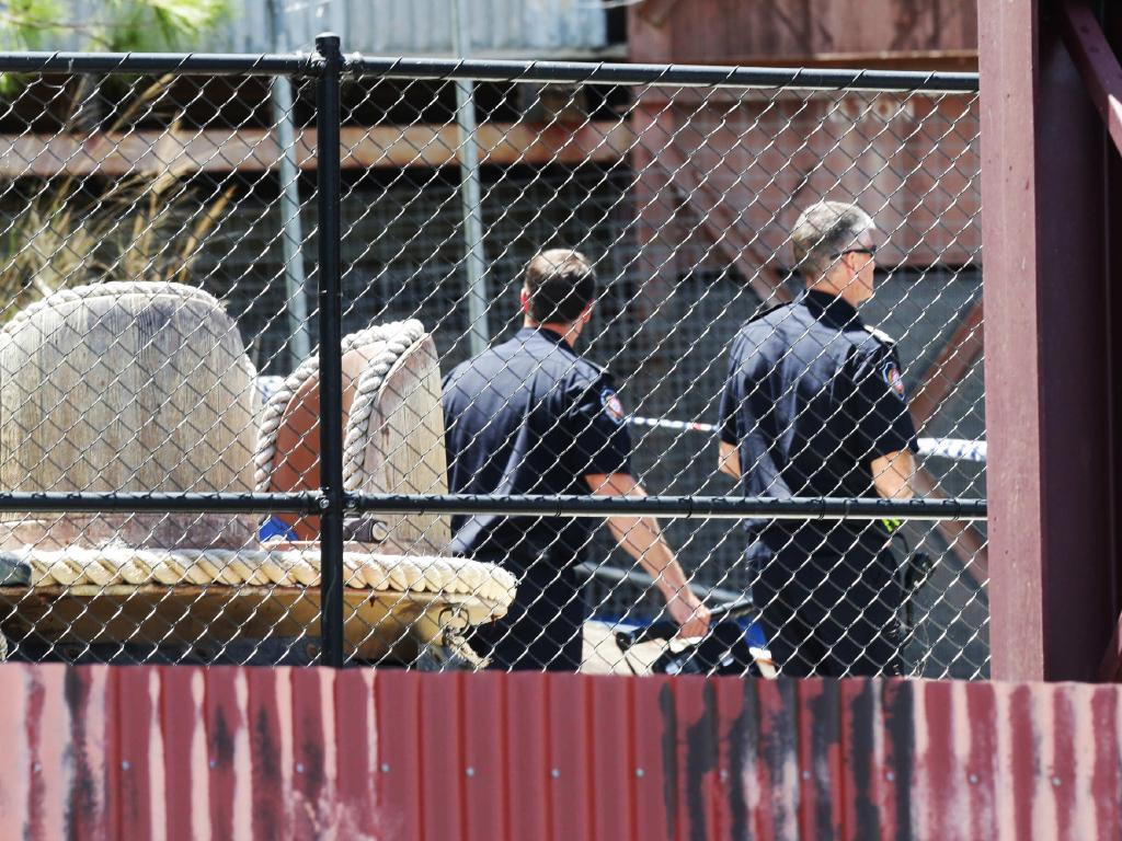 Police at Dreamworld the day after the Thunder River Rapids tragedy