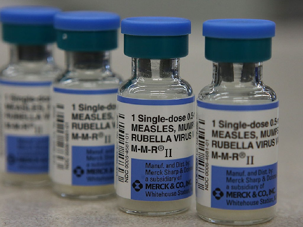 Vials of measles, mumps and rubella vaccine. Gelatine derived from pig material is necessary to keep the active agents stable. Picture: Getty