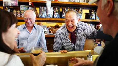 Business partners Nino Pangrazio (left) and Sisto Malaspina (right) at Pellegrini's cafe in Melbourne, Victoria in 2010.
