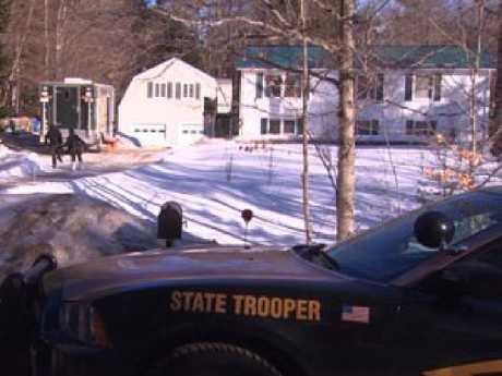 The home in Farmington, New Hampshire, where two women were found dead. Picture: WBZ-TV