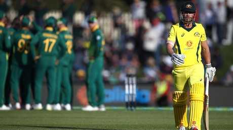 Chris Lynn walks off for a golden duck as South Africa celebrates.